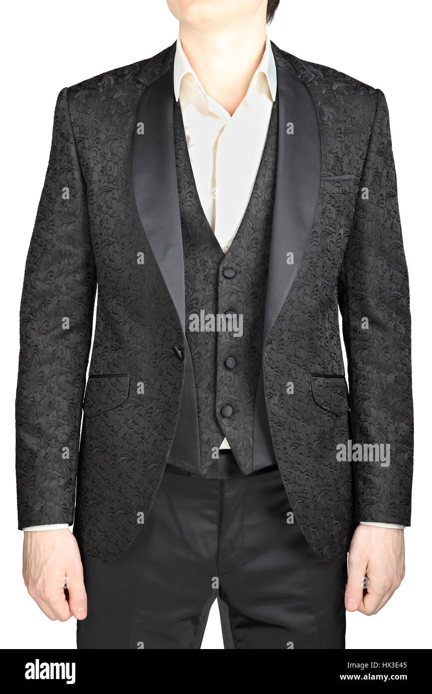 Männliche Hochzeit Anzug grau Muster, knöpfte Sakko, Weste